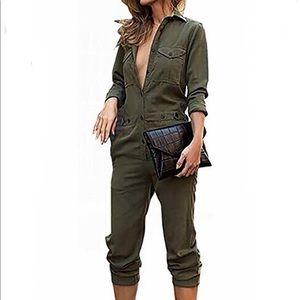 Pants - Hunter Green Utility Jumpsuit